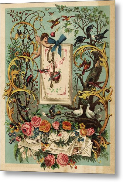 Cherubs, Doves, And Foliage In Outdoor Metal Print by Gillham Studios