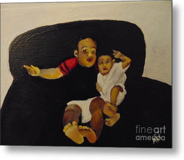 Metal Print featuring the painting Cherubs by Saundra Johnson