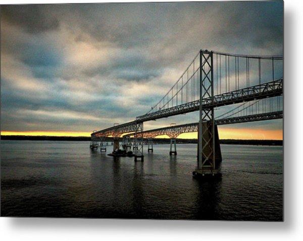 Chesapeake Bay Bridge At Twilight Metal Print