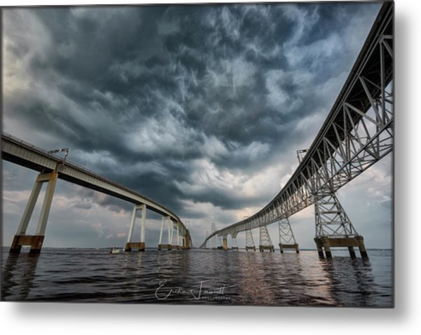 Chesapeake Bay Bridge Storm Metal Print