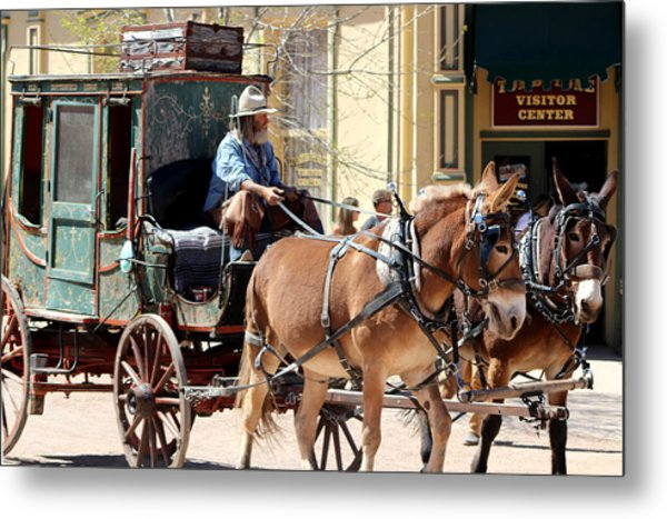 Chestnut Horses Pulling Carriage Metal Print