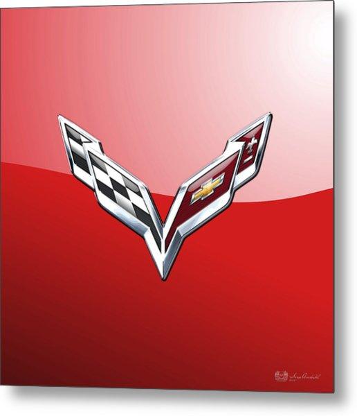 Chevrolet Corvette - 3d Badge On Red Metal Print