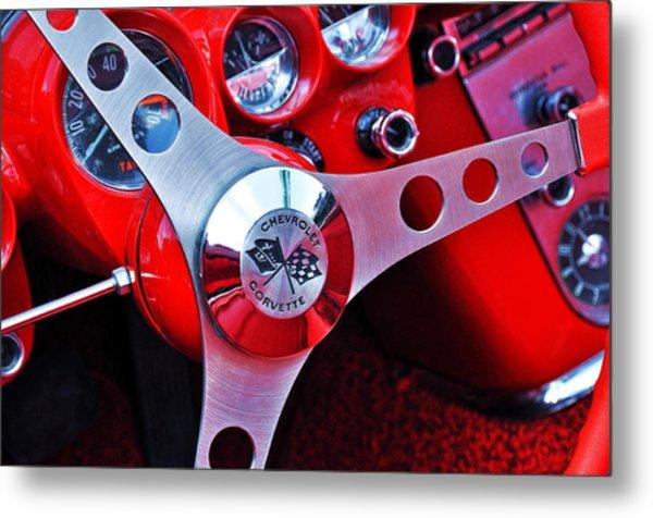 Chevy Corvettte Steering Wheel Metal Print