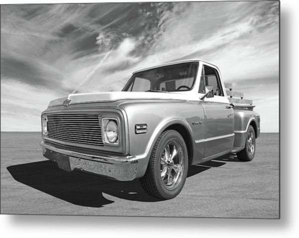 Chevy Custom C10 Stepside In Black And White Metal Print