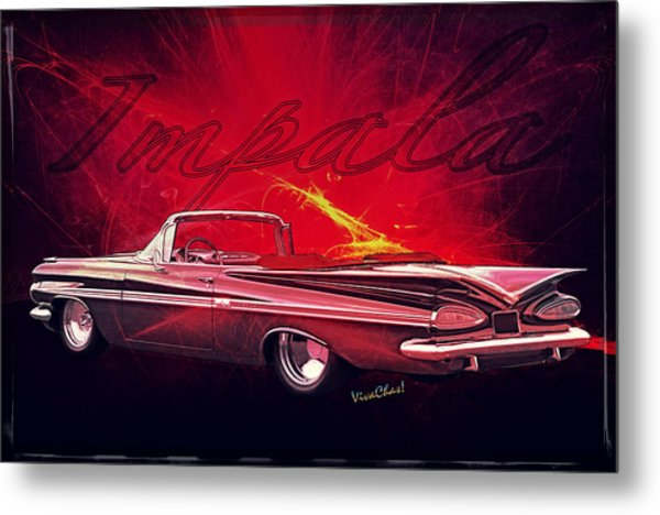 Chevy Impala Convertible For 1959 Metal Print