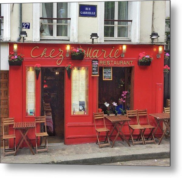Chez Marie Restaurant, Montmartre, Paris Metal Print