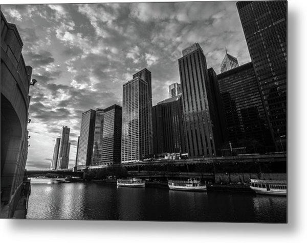 Chi Sunrise Black And White Metal Print