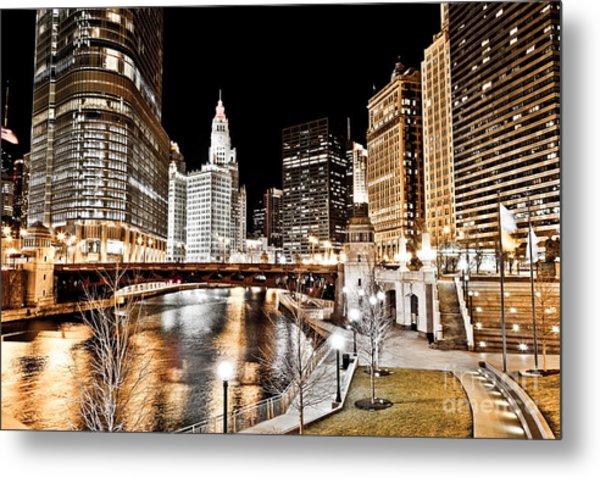 Chicago At Night At Wabash Avenue Bridge Metal Print by Paul Velgos
