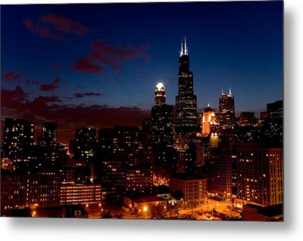 Chicago At Night Metal Print