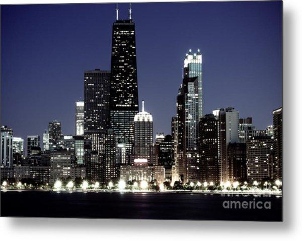 Chicago At Night High Resolution Metal Print