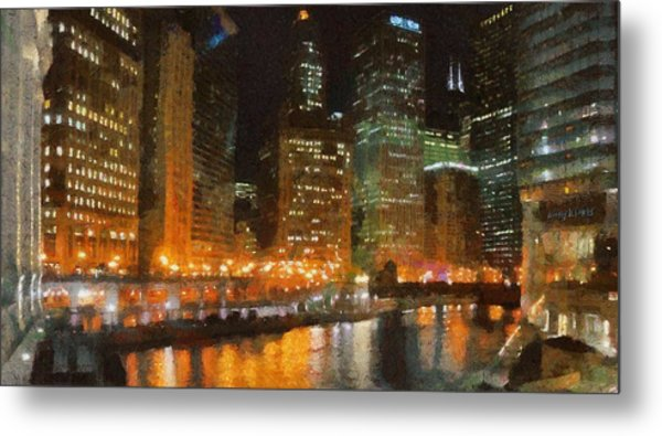 Chicago At Night Metal Print