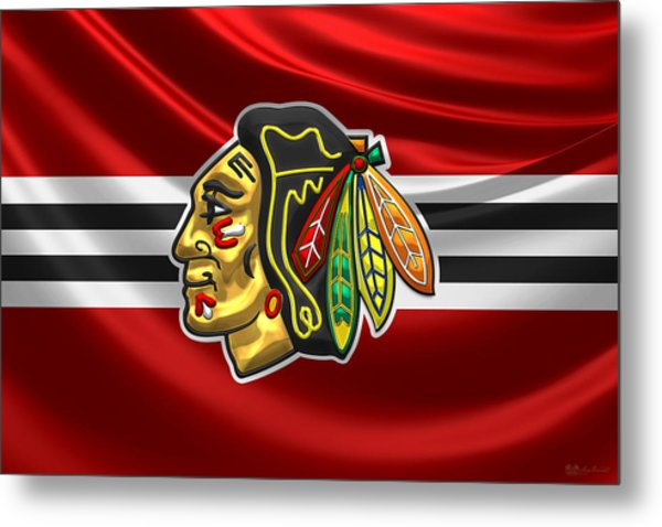 Chicago Blackhawks - 3 D Badge Over Silk Flag Metal Print
