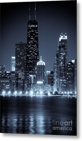 Chicago Cityscape At Night Metal Print