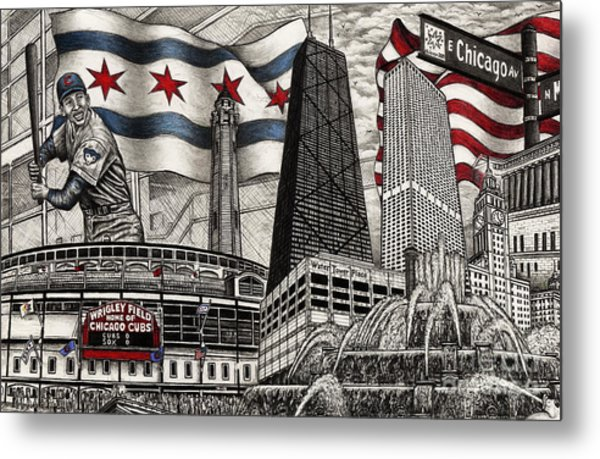 Chicago Cubs, Ernie Banks, Wrigley Field Metal Print