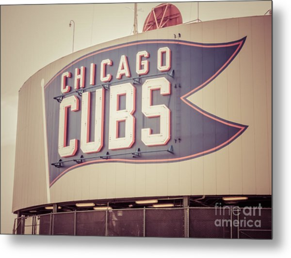 Chicago Cubs Sign Vintage Picture Metal Print