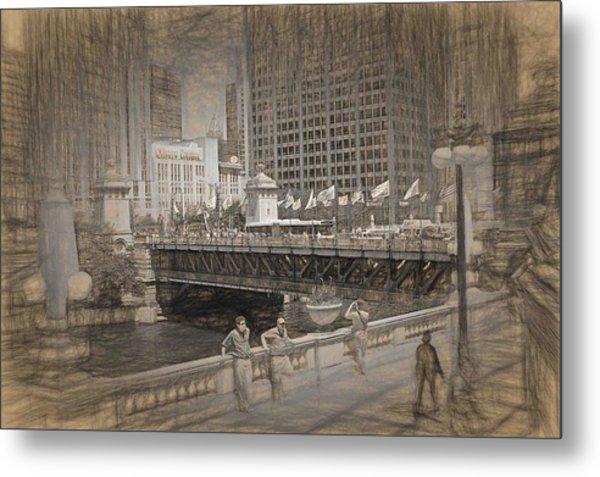 Chicago Dusable Bridge Street Scene Metal Print