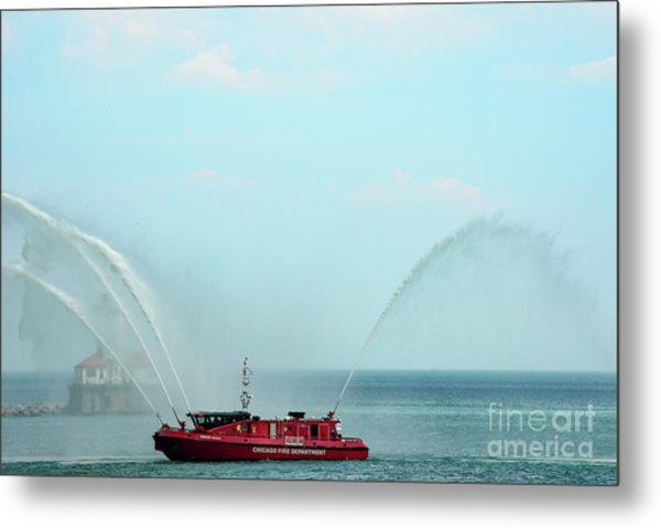 Chicago Fire Department Fireboat Metal Print