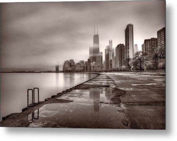 Chicago Foggy Lakefront Bw Metal Print