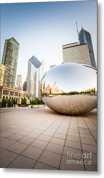 Chicago Gloud Gate And Chicago Skyline Photo Metal Print by Paul Velgos