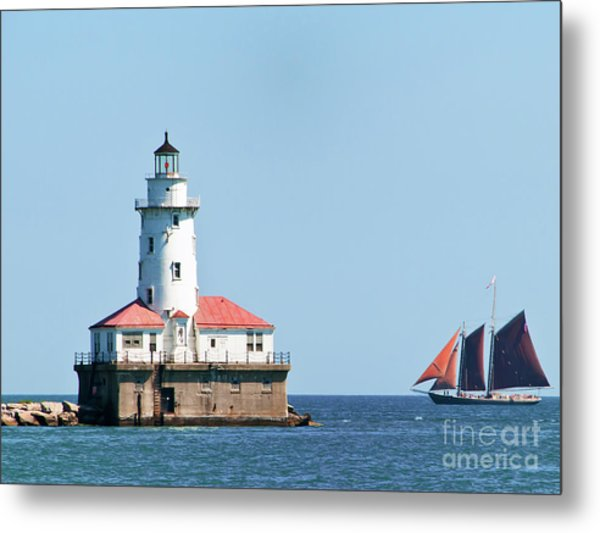 Chicago Harbor Lighthouse And A Tall Ship Metal Print