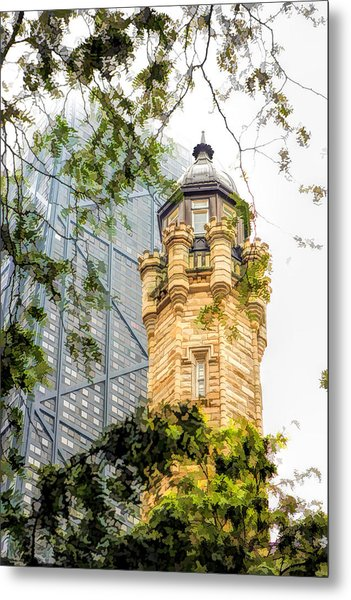 Chicago Historic Water Tower Fog Metal Print
