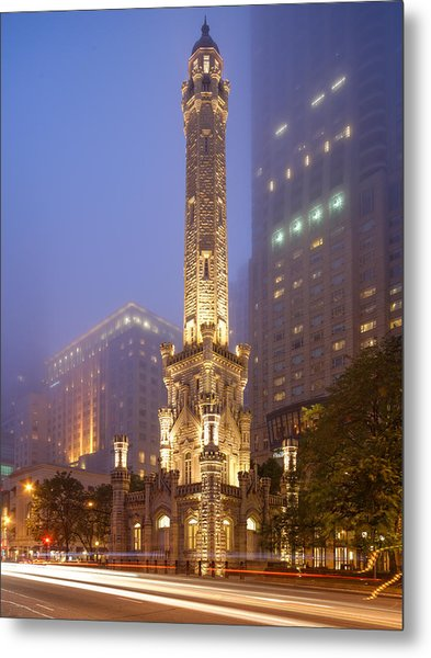 Chicago Historic Water Tower On Michigan Avenue Foggy Twilight - Chicago Illinois Metal Print