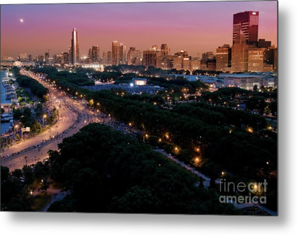 Chicago Independence Day At Night Metal Print