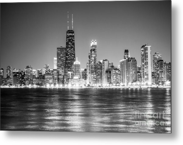 Chicago Lakefront Skyline Black And White Photo Metal Print