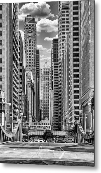 Chicago Lasalle Street Black And White Metal Print
