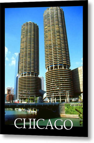 Chicago Poster - Marina City Metal Print