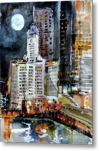 Metal Print featuring the painting Chicago Night Wrigley Building Art by Ginette Callaway