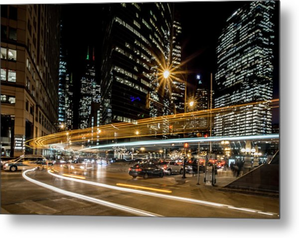 Chicago Nighttime Time Exposure Metal Print
