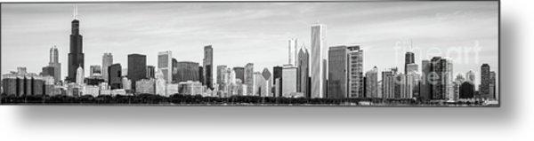 Chicago Panorama Skyline High Resolution Black And White Photo Metal Print