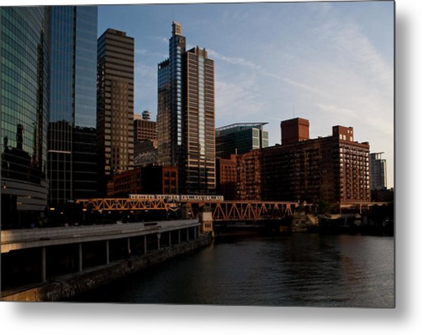 Chicago River And Downtown Metal Print