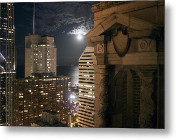 Chicago Rooftop On Moonlit Night Metal Print by Christopher Purcell