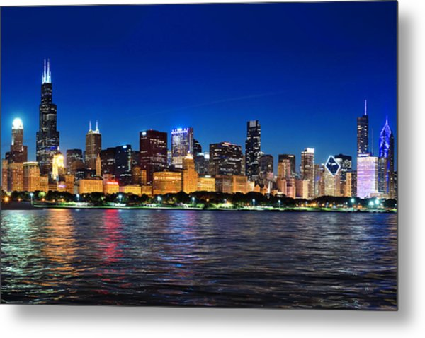 Chicago Shorline At Night Metal Print