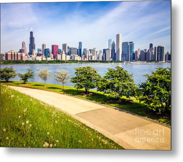Chicago Skyine And Lakefront Trail Metal Print by Paul Velgos