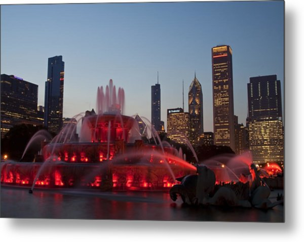Chicago Skyline And Buckingham Fountain Metal Print