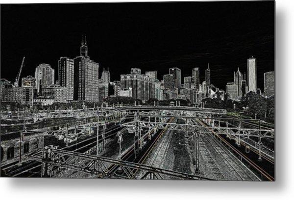 Chicago Skyline And Tracks Metal Print
