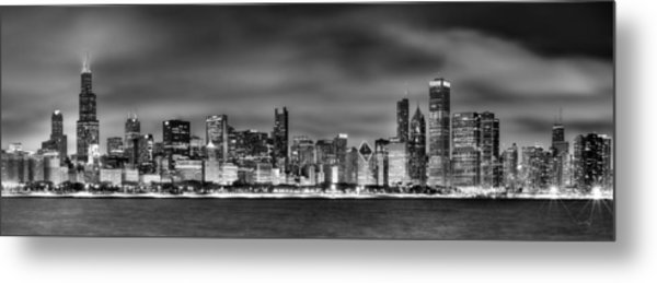 Chicago Skyline At Night Black And White Metal Print