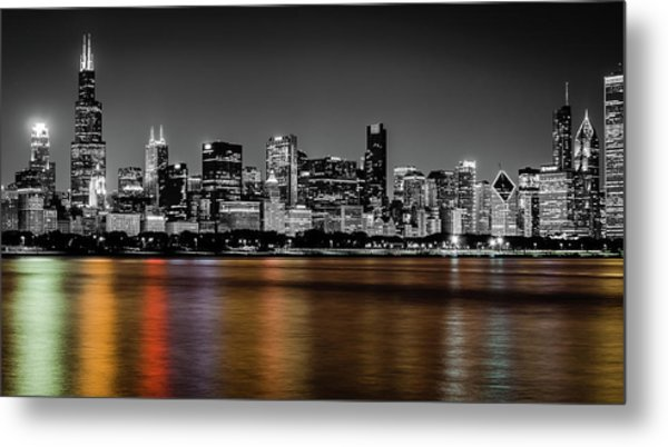 Chicago Skyline - Black And White With Color Reflection Metal Print