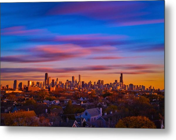 Chicago Skyline Blend Metal Print by Steve Kuzminski