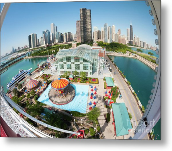 Chicago Skyline From The Navy Pier Ferris Wheel Metal Print by Felix Choo