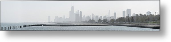 Chicago Skyline In Fog Metal Print