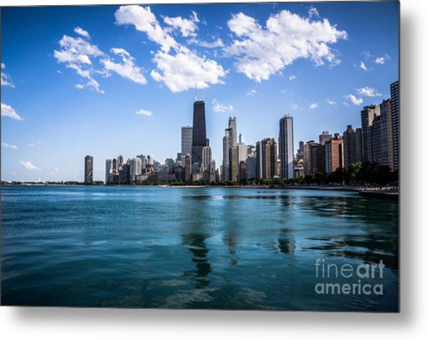 Chicago Skyline Photo With Hancock Building Metal Print by Paul Velgos