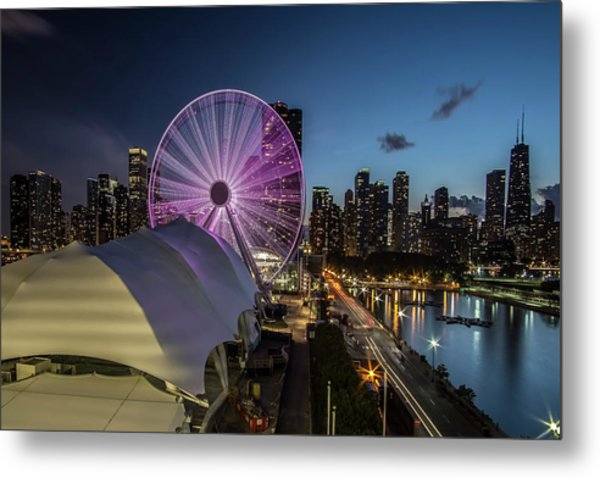 Chicago Skyline With New Ferris Wheel At Dusk Metal Print