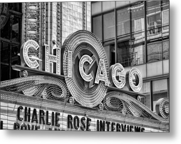 Chicago Theatre Marquee Black And White Metal Print