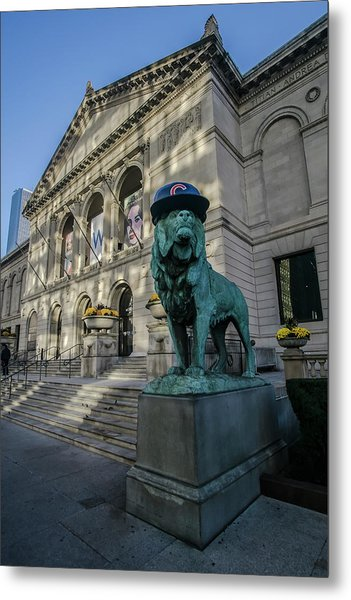 Chicago's Art Institute With Cubs Hat Metal Print