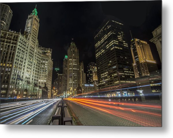 Metal Print featuring the photograph Chicago's Mag Mile Night Streaks by Sven Brogren