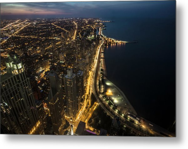 Chicago's North Side From Above At Night  Metal Print